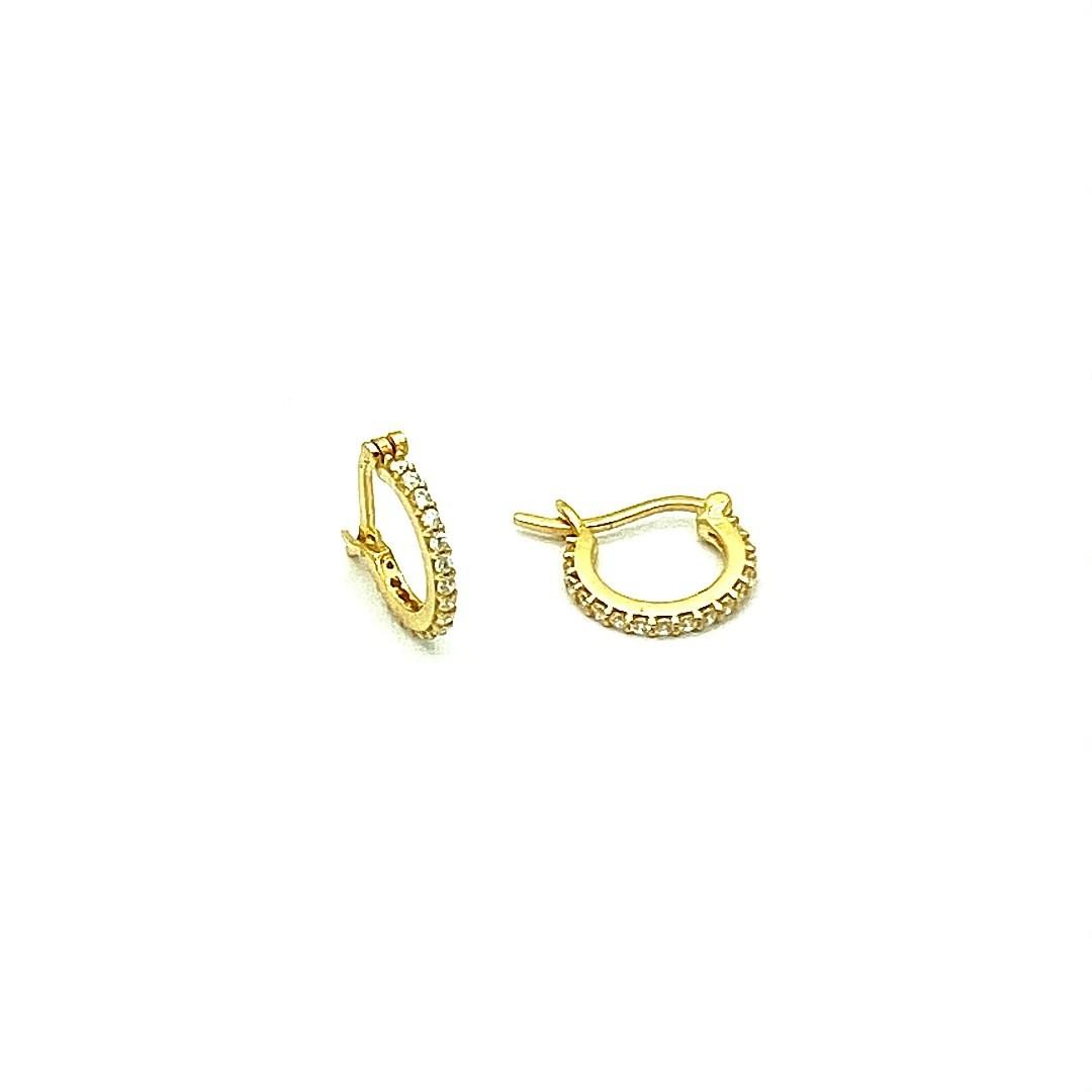 Brinco Argola com 32 Pedras e Trava 7mm - Ouro 18k FB121513