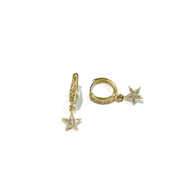 Brinco Argola - Segundo Furo -Bebe  Ouro 18k Argola 6mm Estrela Pendurada B3154Sk160