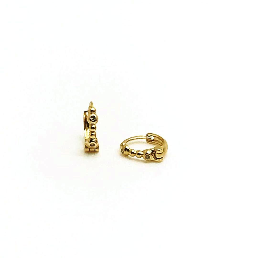 Brinco - Segundo Furo -Bebe  Ouro 18k Argola 6mm Bolinha com Diamantes B13242