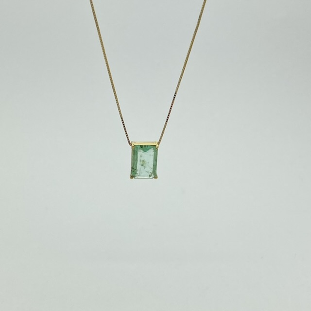 Colar Esmeralda Colombiana Natural Ouro 18k Retangular Pingente e Corrente 0.9x0.7cm