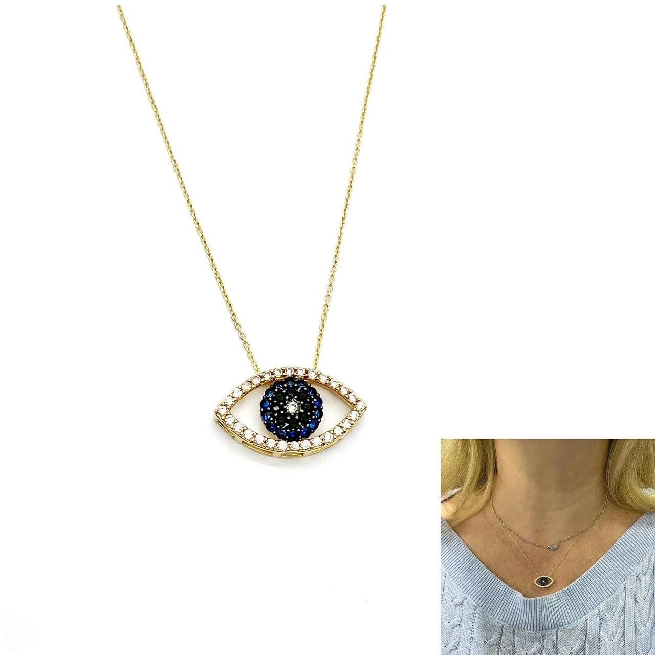 Colar Olho Grego com Pedras Ouro 18k e Corrente FMOP3162SK280