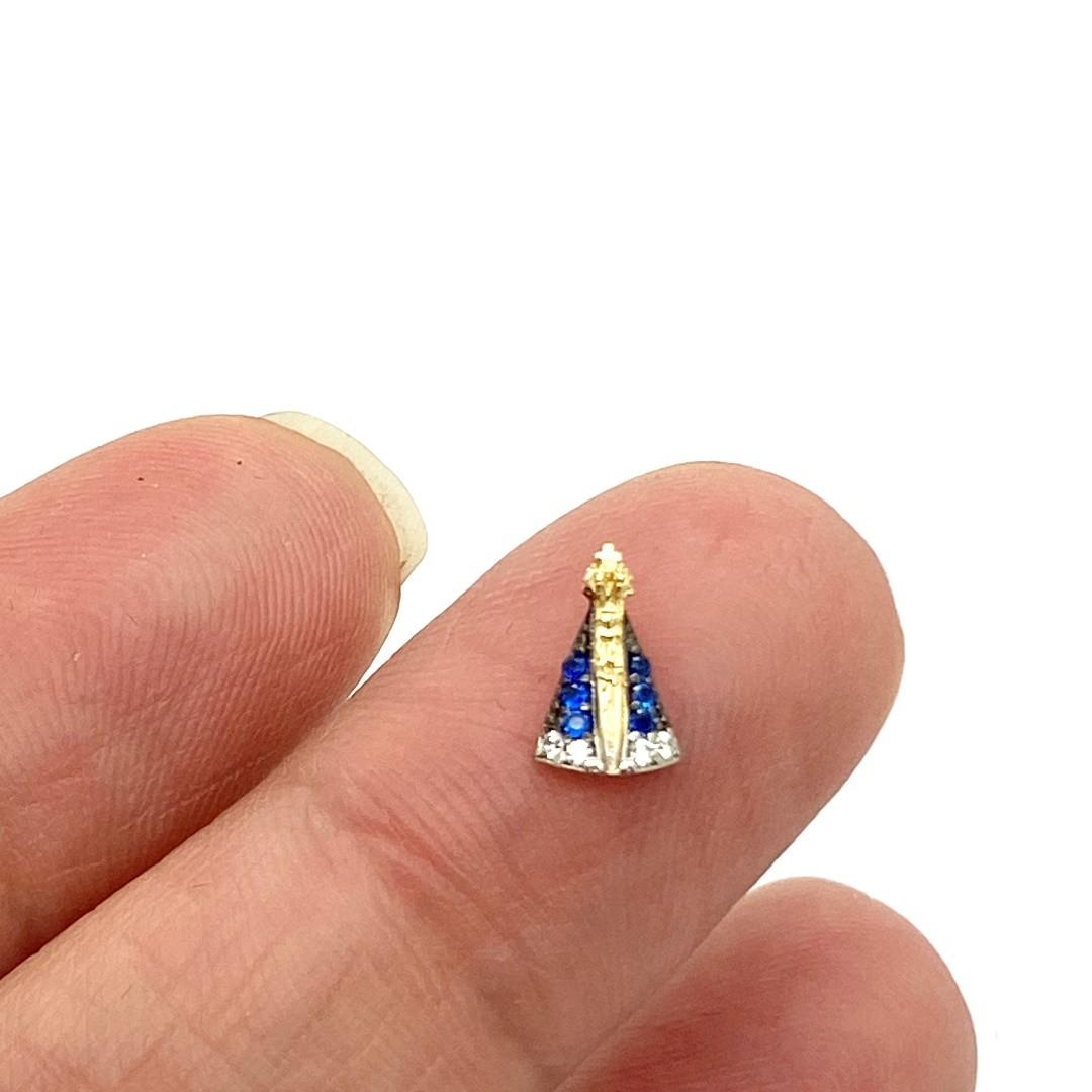 Pingente Para Colar Ouro 18k Nossa Senhora com Pedras Azuis e Brancas k040