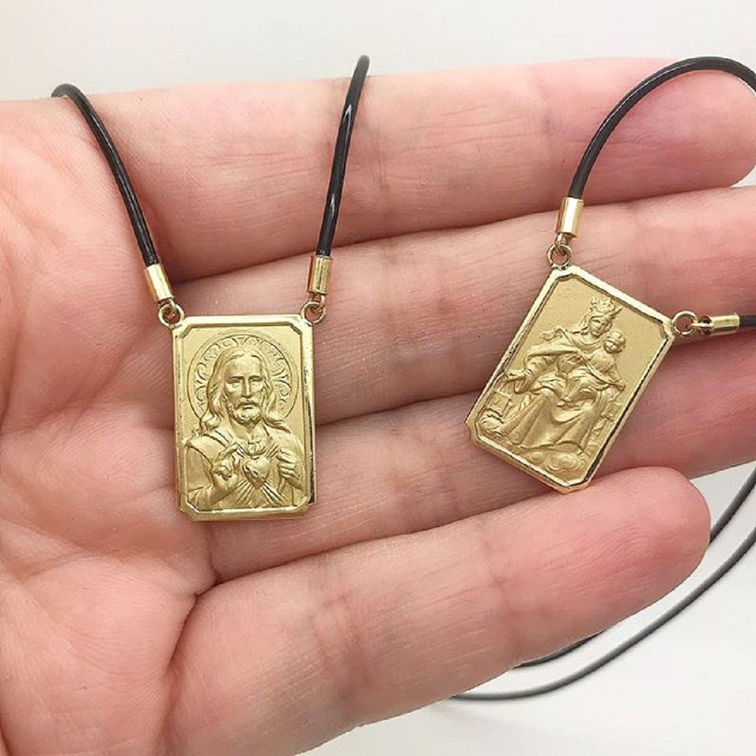 Escapulario Estamparia Italiana Medalha 2cm Dupla Face Ouro 18k k470