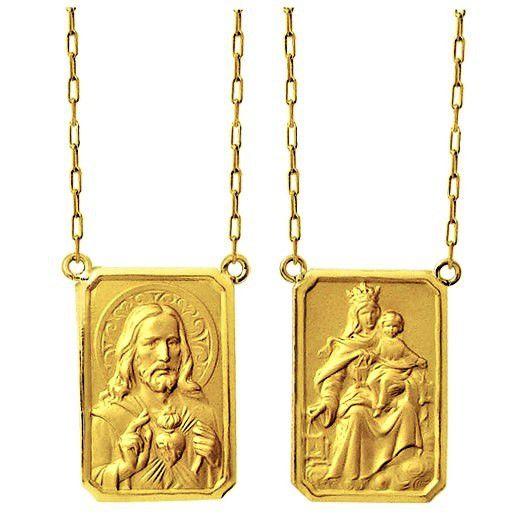 Escapulario Pequeno 1.2cm Tradicional Ouro Maciço 18k Corrente 60cm FDCER2K3