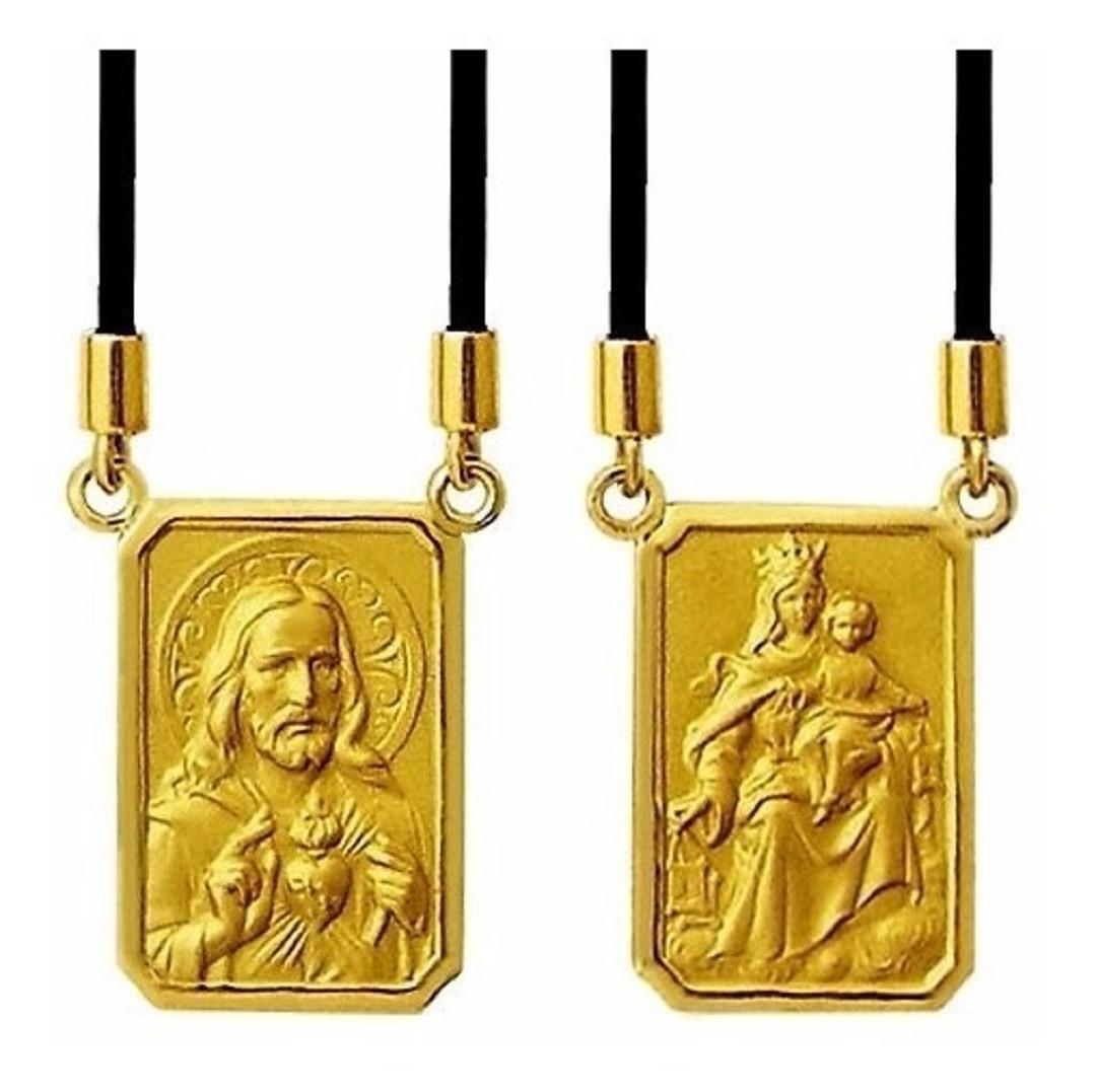 Escapulario Pequeno Estamparia Italiana Medalha 1.2cm Dupla Face Ouro 18k k2.1
