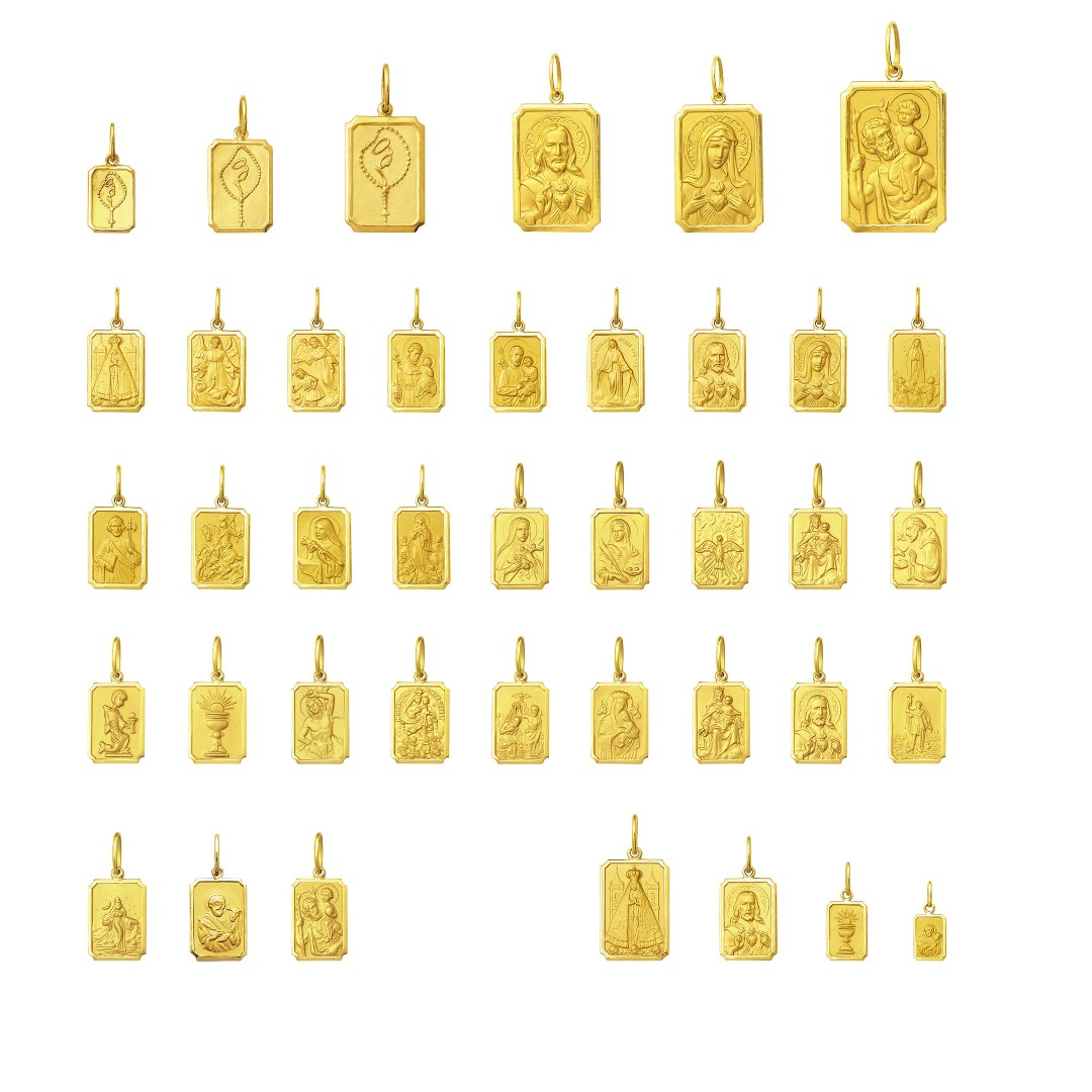 Escapulario Tradicional Mini 1cm Dupla Face Ouro 18 Maçico Corrente 60cm FDCER1RK530