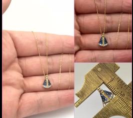 Nossa Senhora Ouro 18k Com Pedras Pequena 1.1 x 0.7cm k070
