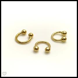 Ouro 18k Piercing Argola Ferradura Cartilagem Tragus Orelha  F02K067
