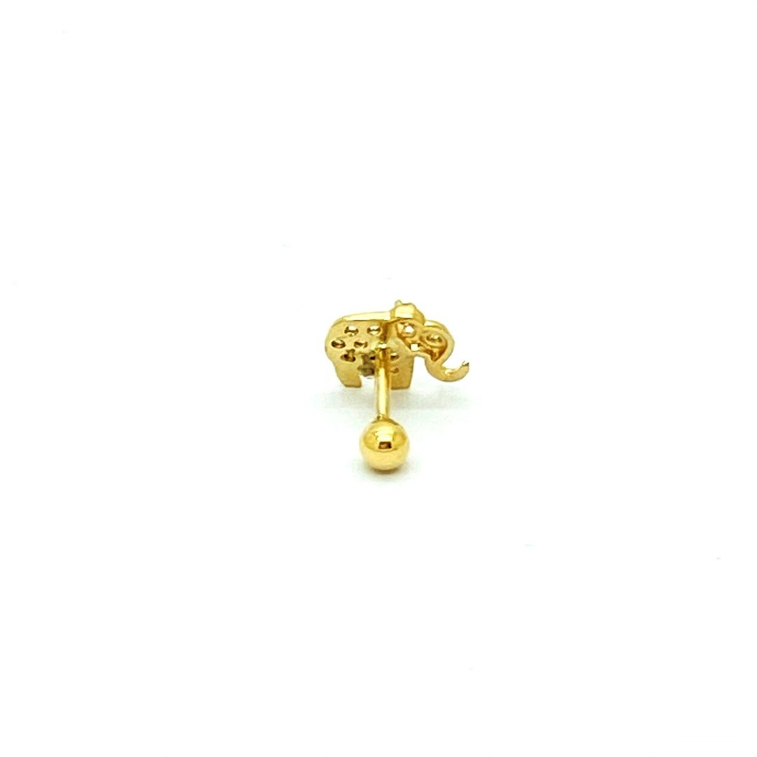 Ouro 18k Piercing Elefante com Pedras Cartilagem Hook Helix Tragus Orelha FELEK060