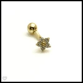 Ouro 18k Piercing Flor Estrela com Pedras Cartilagem Hook Helix Tragus Orelha CO110K045