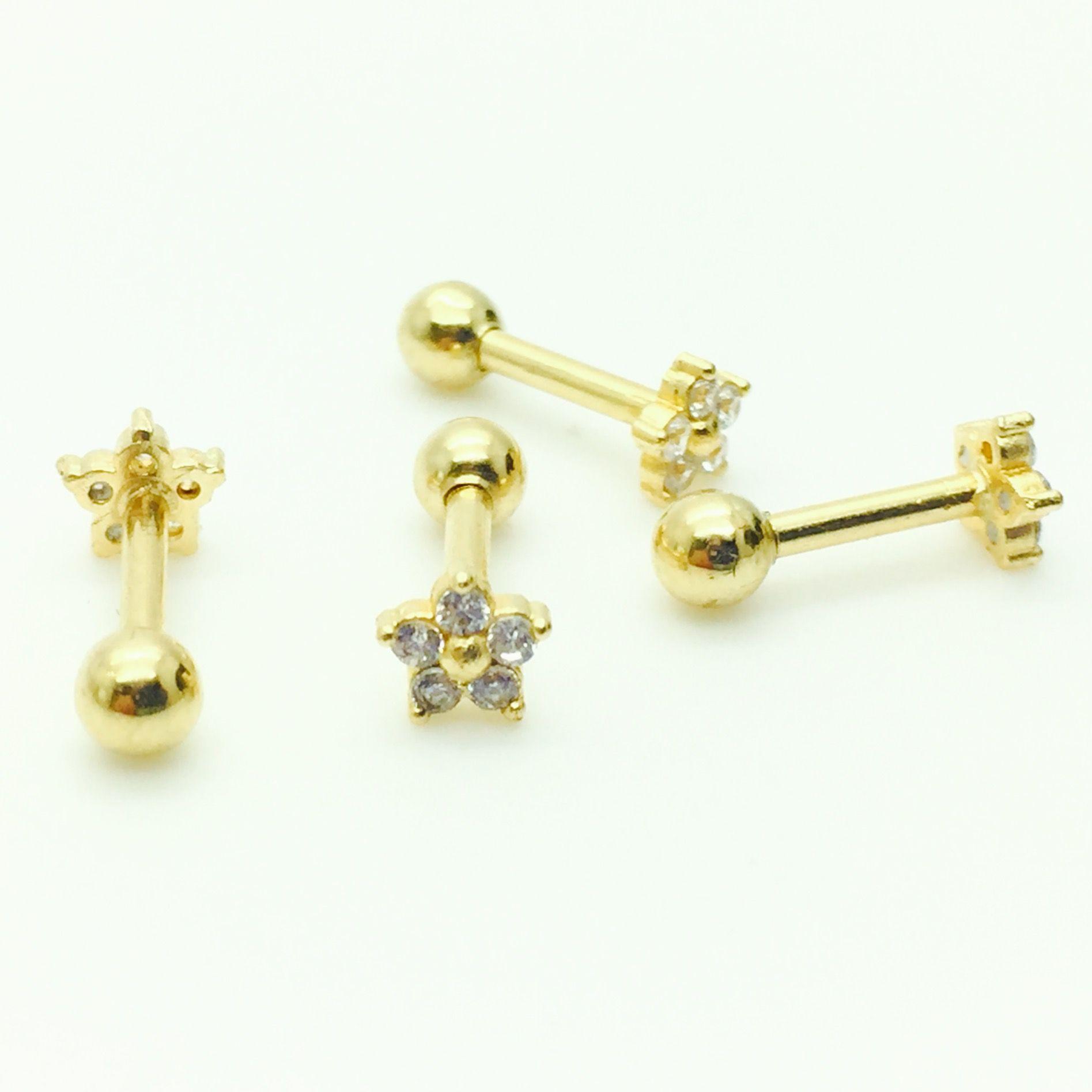 Ouro 18k Piercing Flor Estrela com Pedras Cartilagem Tragus Orelha CO110K045.