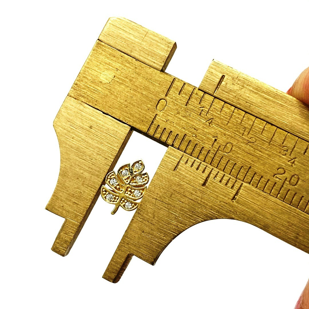 Ouro 18k Piercing Folha com Pedras Cartilagem Hook Helix Tragus Orelha F0301K060