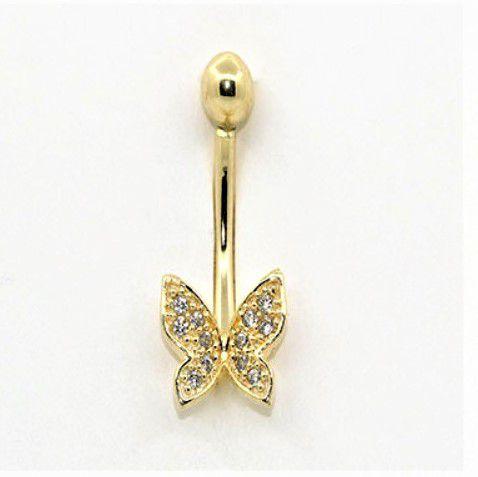 Ouro 18k Piercing Umbigo Ponto De Luz Borboleta com Pedras Brancas CO258k110
