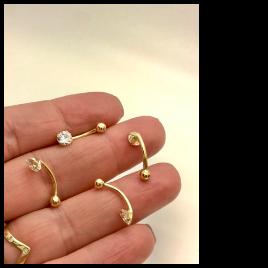 Ouro 18k Piercing Umbigo Ponto De Luz Pedra Redonda Branca Cristal CO233K075