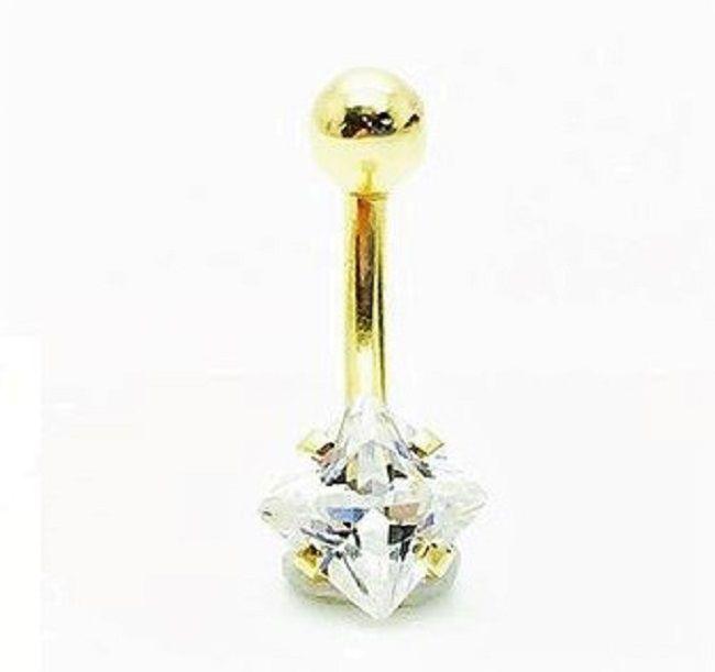 Ouro 18k Piercing Umbigo Ponto De Luz Pedra Branca Quadrada de 5mm 224k078