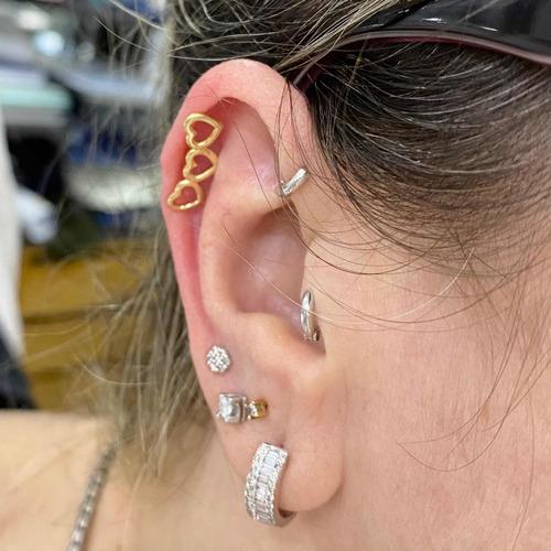 Piercing 3 Coraçoes Cartilagem Orelha Ouro 18k Helix K090