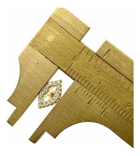 Piercing Boca Pedra Branca Ouro 18k Orelha Cartilagem K070
