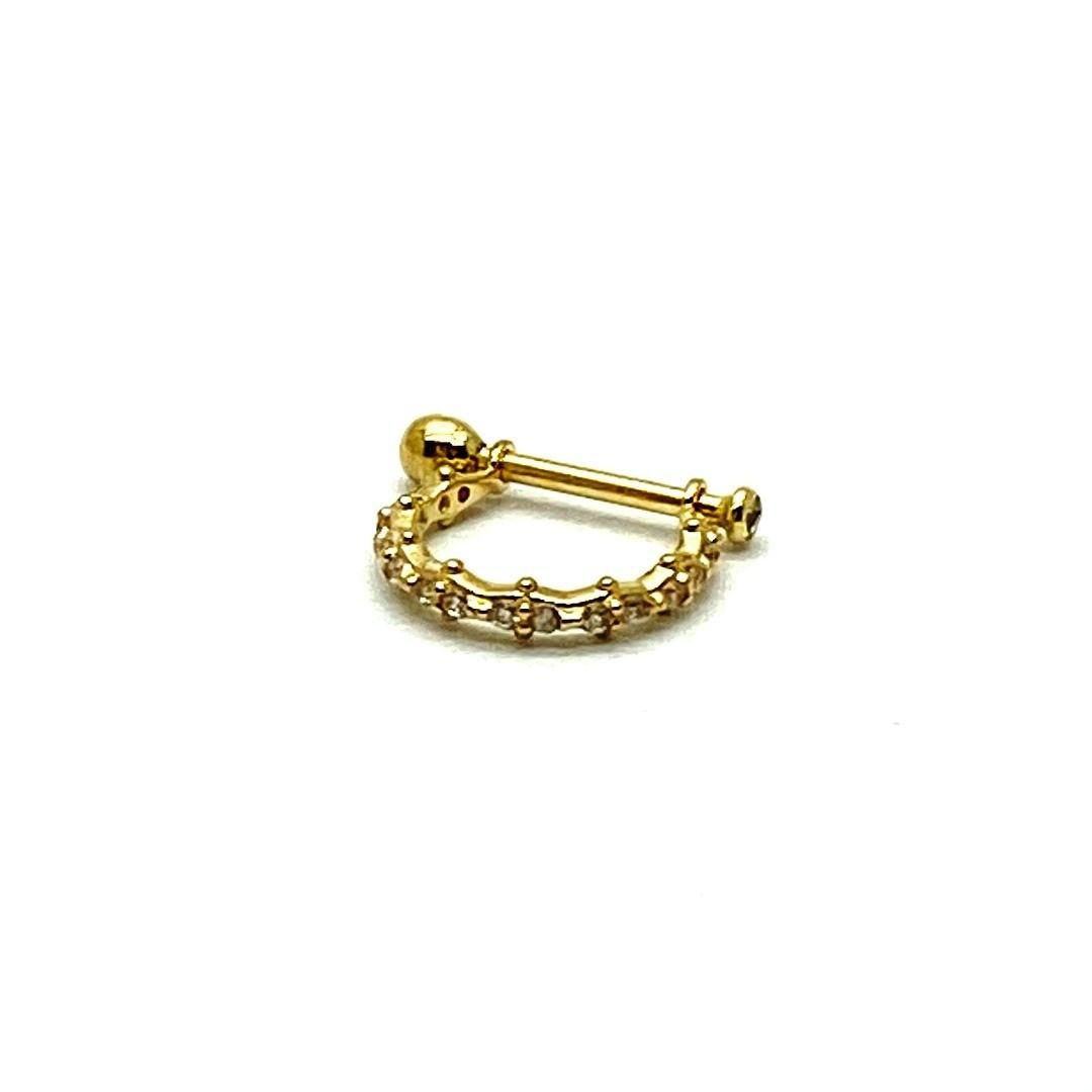 Piercing Conch Ouro 18k Pino e Argola Com Pedras Brancas F08K130