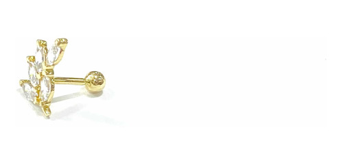 Piercing Flor Galho Ouro 18k Com Pedras Brancas Orelha Helix PCO11K068