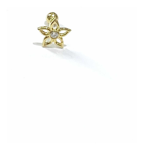 Piercing Flor Margarida Ouro 18k Com Pedra Branca Orelha k050