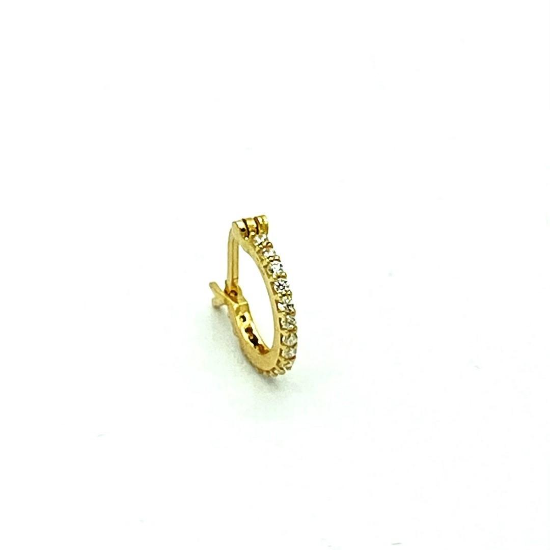 Piercing Ouro 18k Argola 16 Pedras e Trava 7mm FP121513