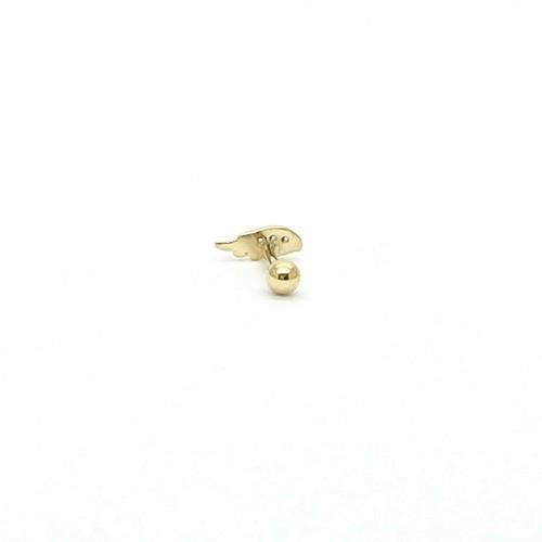 Piercing Ouro 18k Asa Wing Pedra Branca Orelha Cartilagem k040