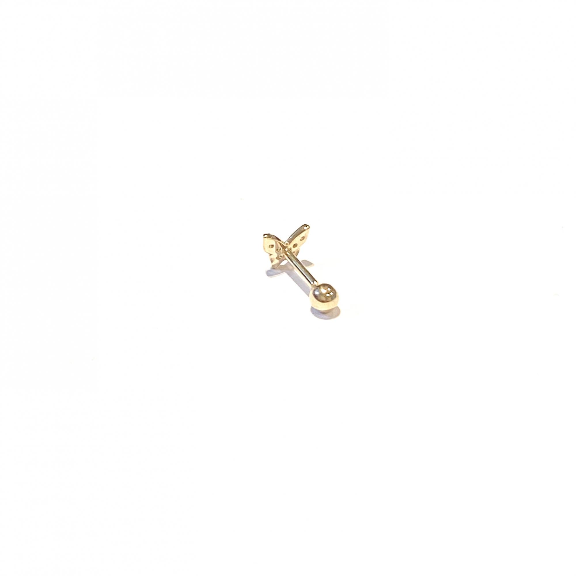 Piercing Ouro 18k Borboleta Com Pedra Branca Brinco Bk070