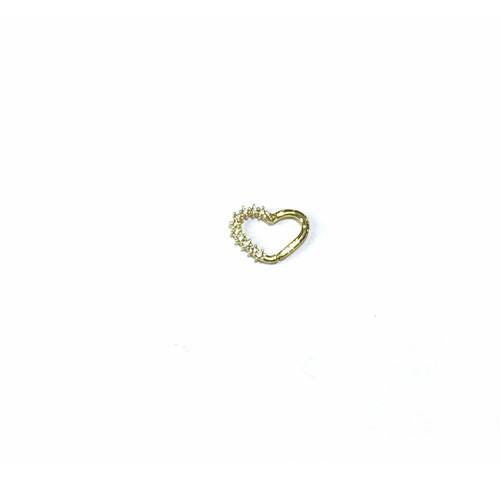 Piercing Ouro 18k Coraçao Pedra Branca Rook Tragus Hook Cartilagem Helix K06