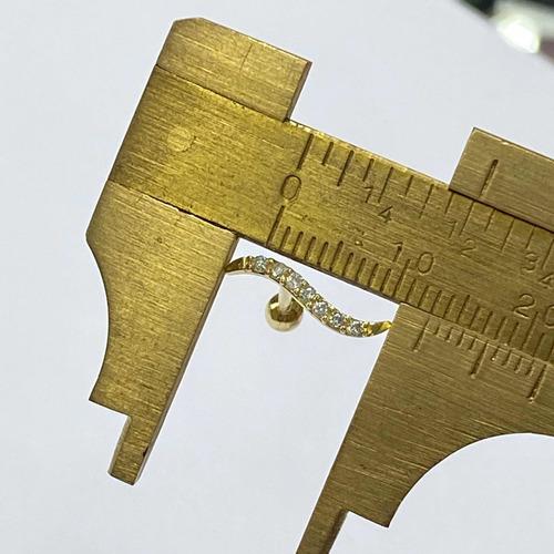 Piercing Ouro 18k Raio Com Pedras Brancas Brinco Z FPC0154K045