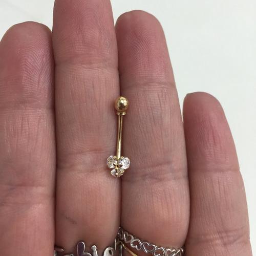 Piercing Ouro 18k Umbigo 3 Pedras Cristal Flor FCO230K060
