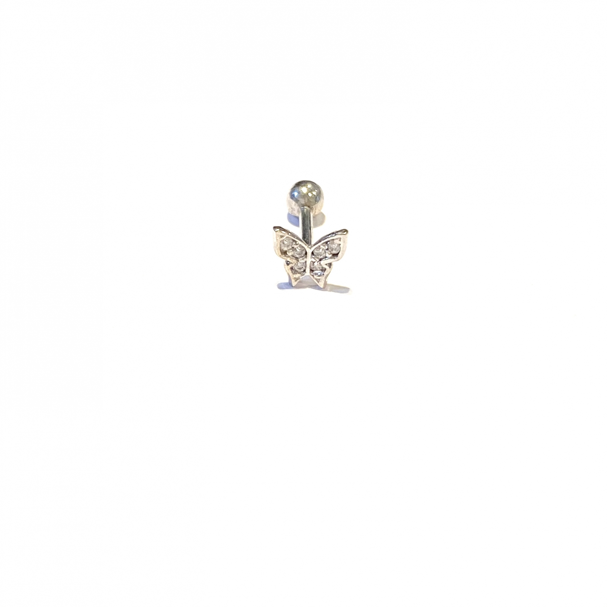 Piercing Ouro Branco 18k Borboleta Pedra  Brinco Bk070