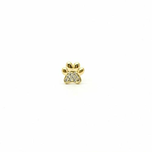 Piercing Pata Pedra Branca Ouro 18k Patinha Orelha Cartilagem