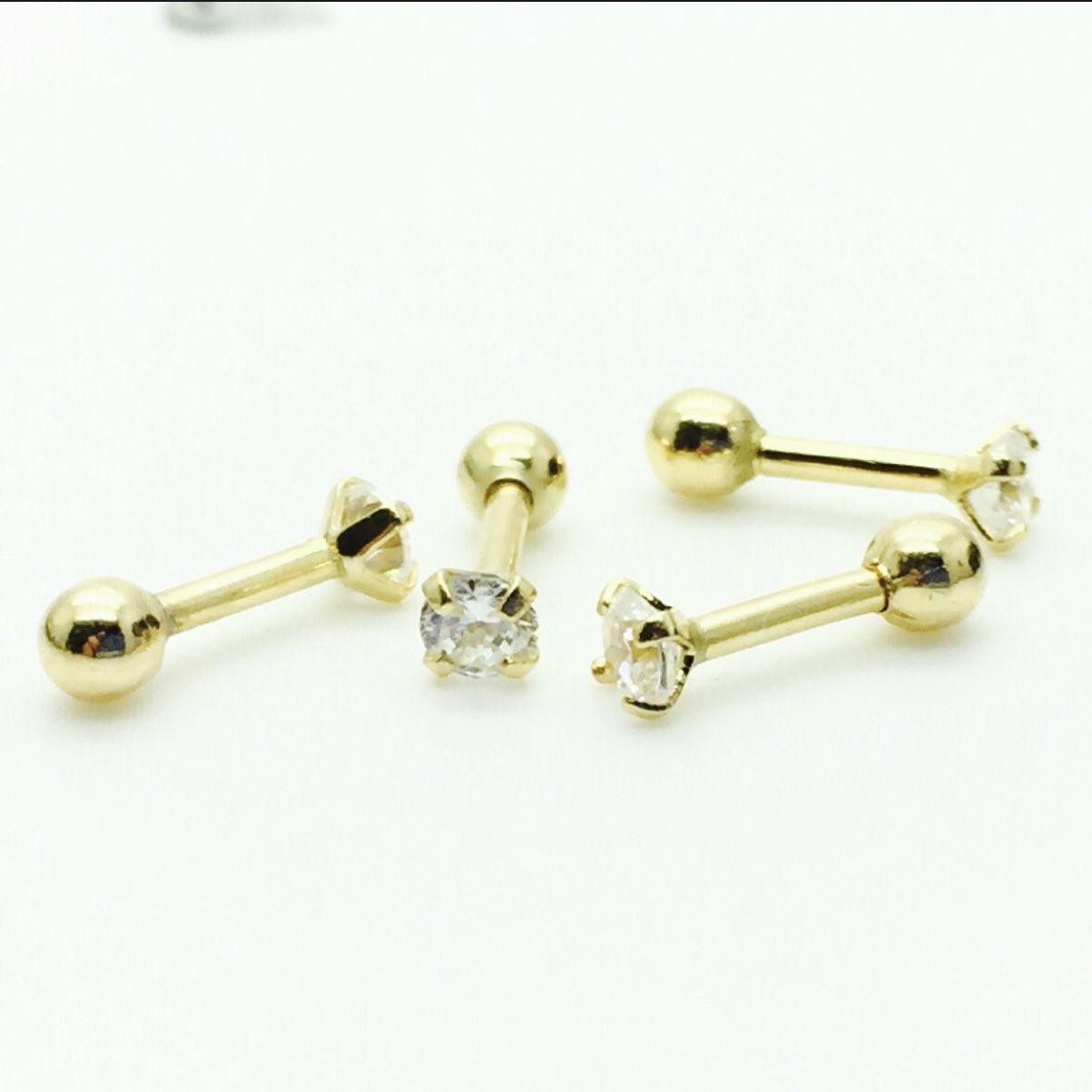 Piercing Ponto de Luz Ouro 18k Amarelo 18k Pedra Branca Com Garra  R03K039