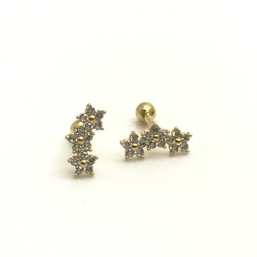 Piercing Tragus Cartilagem Ouro 18k 3 Flor com Pedra Branca Helix FCO219K073