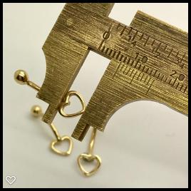 Piercing Umbigo Coração Ouro 18k Bolinha Tradicional K070
