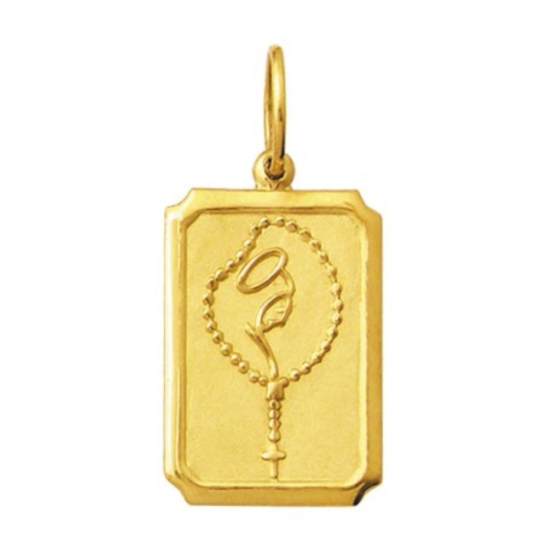 Pingente Medio 1.6cm Modelo Retangular Santos Ouro 18k ( 29 Santos ) K210