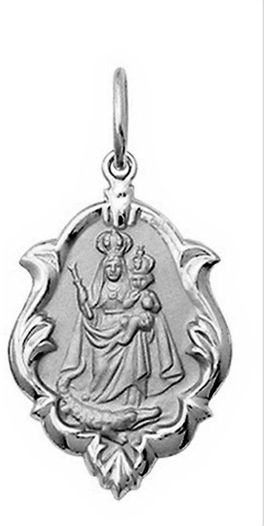 Pingente Mini 1cm Nossa Senhora Aparecida Retangular Ouro 18k Branco k050