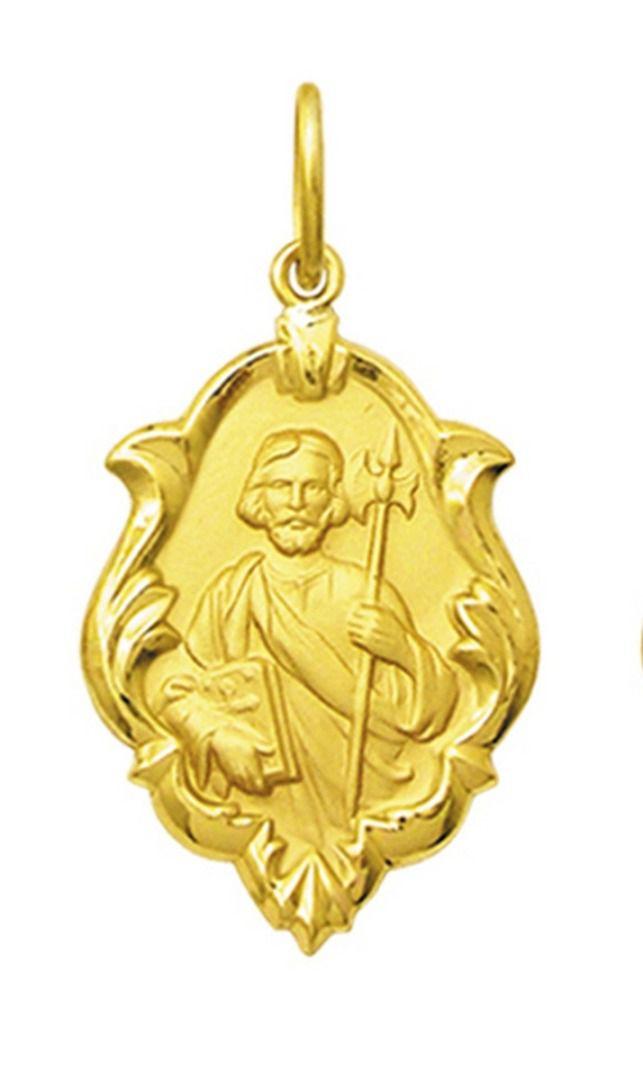 Pingente Mini Modelo Trabalhado Ornato 1cm Santos Ouro 18k ( 47 Santos )