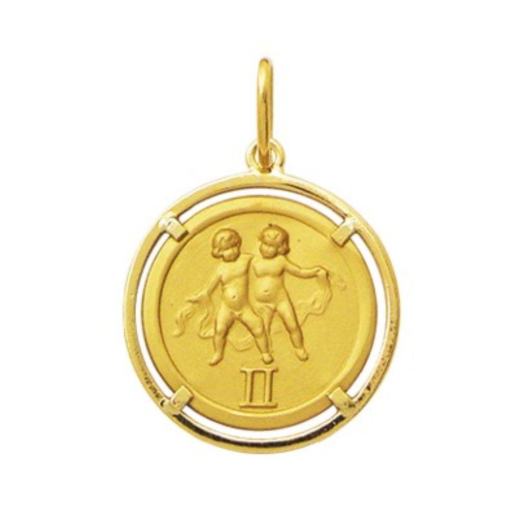Pingente Signo Redondo Com Aro Medio 1.8cm Ouro 18k K150