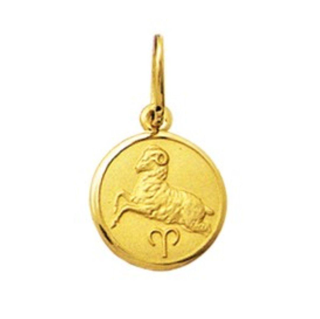 Pingente Signo Redondo Pequeno 1cm Ouro 18k K080