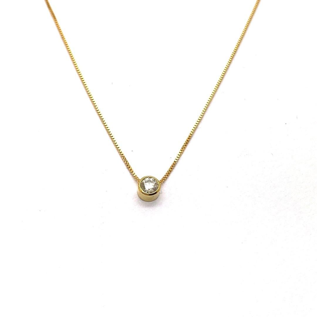 Ponto de Luz em Ouro 18k  Diamante Sintetico com Corrente K200
