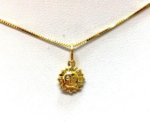 Sol Sun Em Ouro 18k - Solpeq - Corrente Vendida A Parte