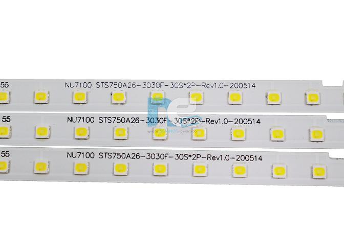 KIT BARRA DE LED SAMSUNG UN75NU7100 UN75RU7100 COM 3 BARRAS