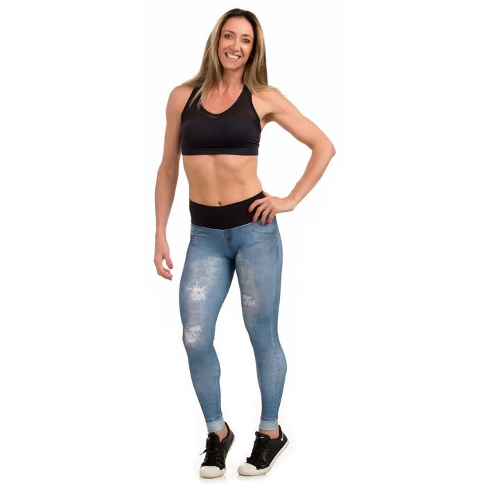 64ad1af42 Legging Estampada Sublimada - ESTAMPA JEANS AZUL - Xóia! Fitness