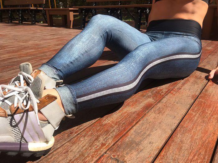 bcb5701db Legging Estampada Sublimada - ESTAMPA JEANS AZUL COM LISTRA - Xóia! Fitness