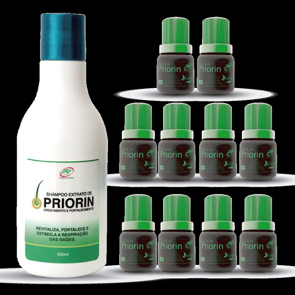 10 Tônicos Cresce Cabelo Extrato de Priorin + Shampoo Extrato de Priorin
