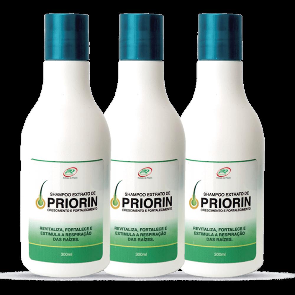 3 Shampoos Cresce Cabelo Extrato de Priorin