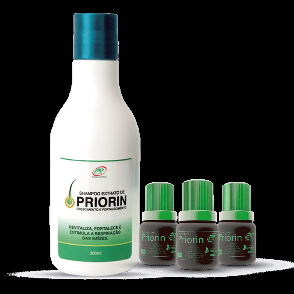 3 Tônicos Cresce Cabelo Extrato de Priorin + Shampoo Cresce Cabelo Extrato de Priorin