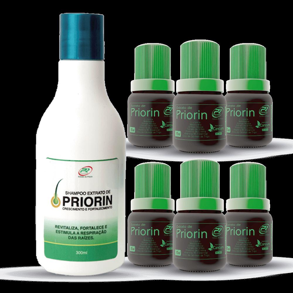 6 Tônicos Cresce Cabelo Extrato de Priorin + Shampoo Extrato de Priorin