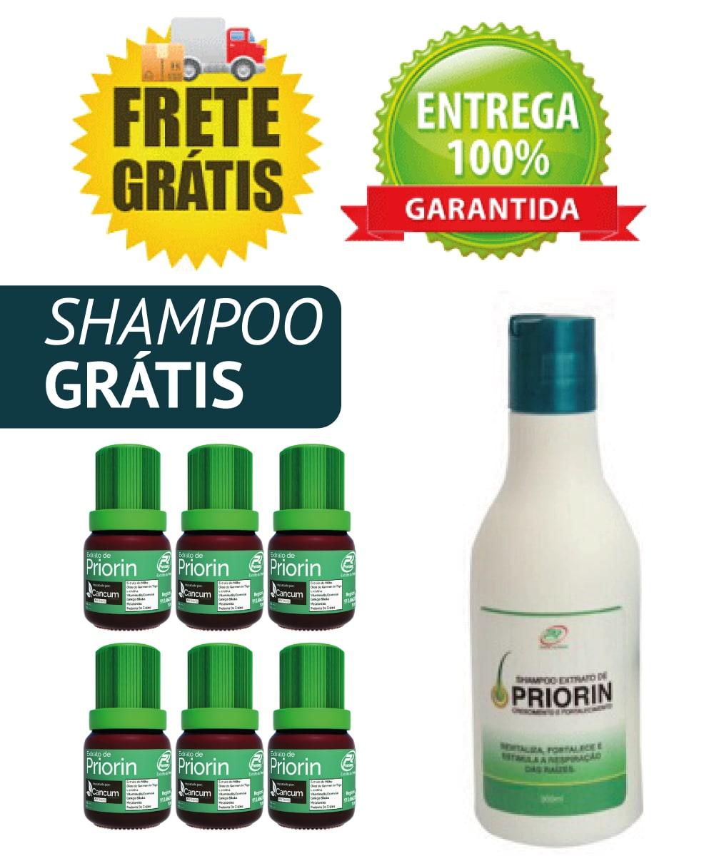 Cresce Pelo Extrato de Priorin - Tônico kit com 6 frascos FRETE GRÁTIS